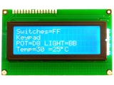 LCD, 20 char. x 4 lines, blue with white LED backlight